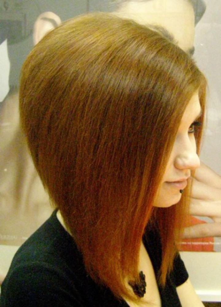 Стрижка короткие волосы спереди и длинные сзади