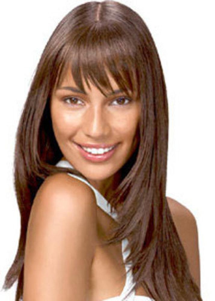 Каскад прическа на длинные волосы с косой челкой