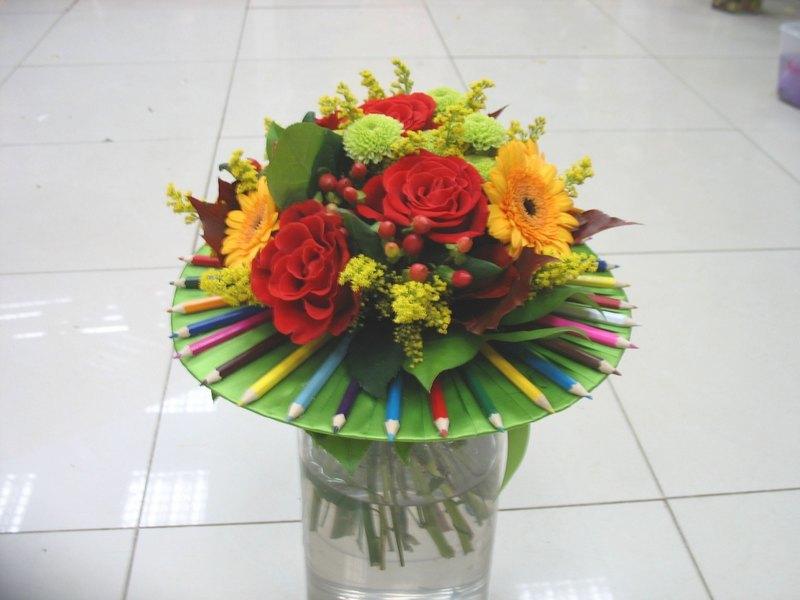 Букет из цветов на 1 сентября своими руками
