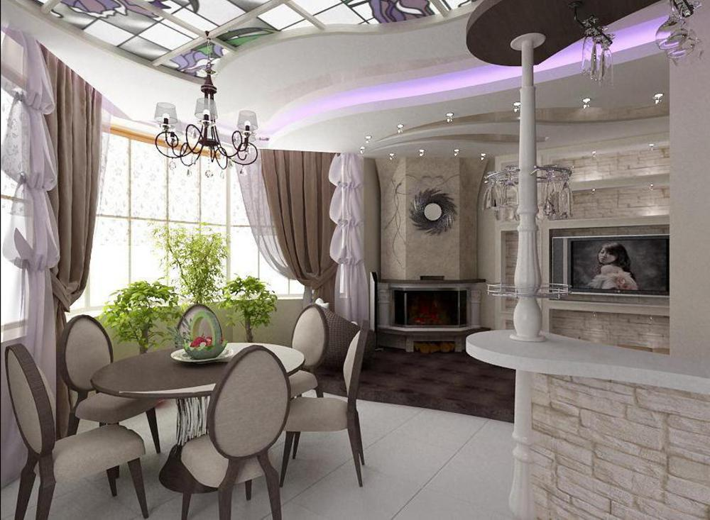Интерьер кухни столовой: гостиной, совмещенной с залом, офор.