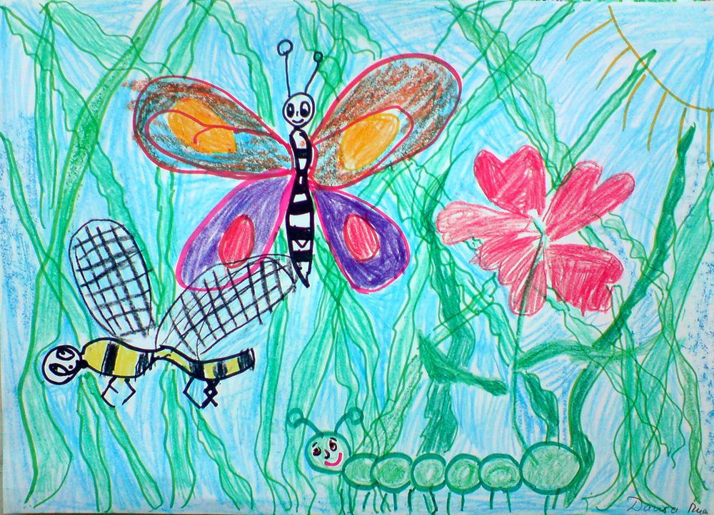 Рисунки на тему ребенок и бабочка