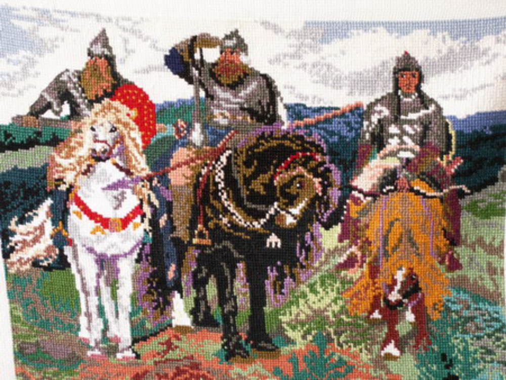 Вышивка крестиком три богатыря 8
