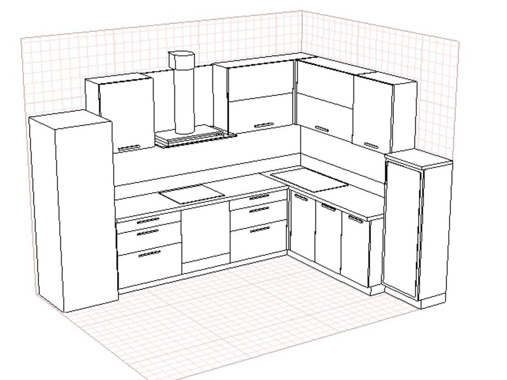 Картинки угловая кухни план
