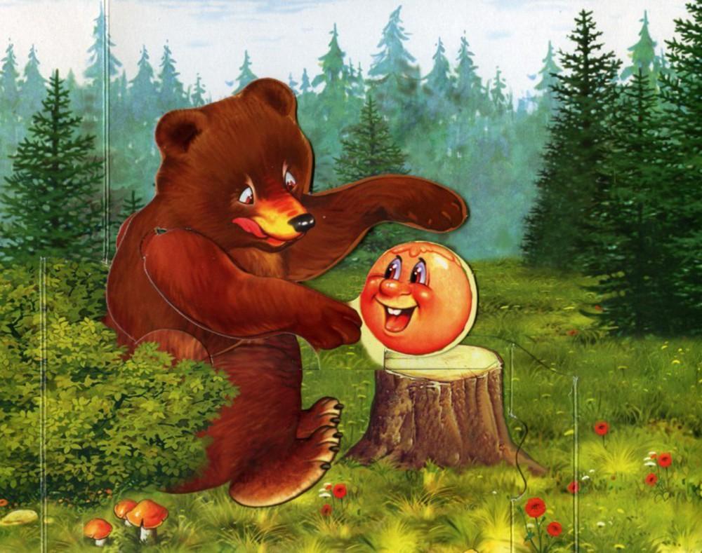 Колобок с медведем картинка