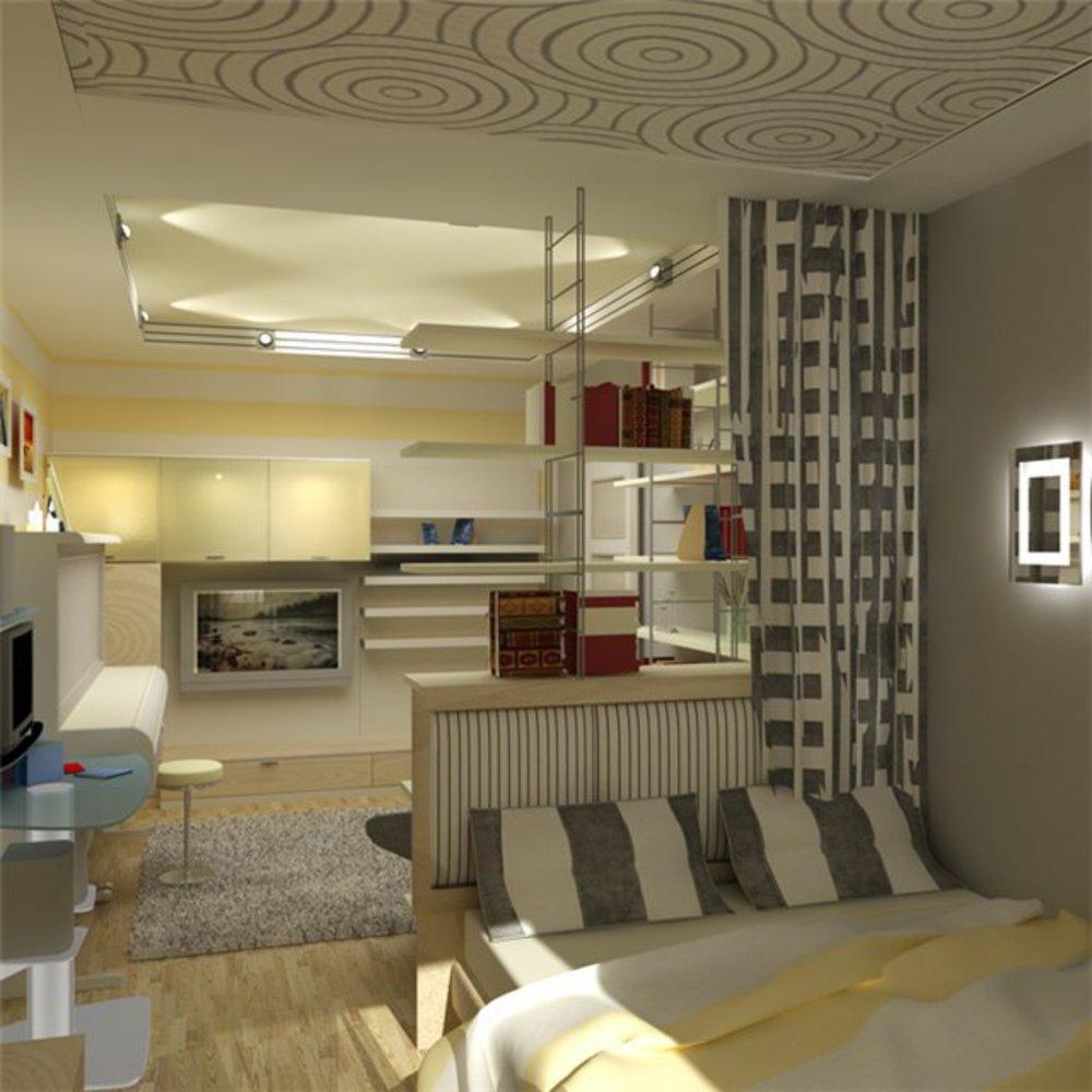 Правильно объединить зону отдыха со спальней в одной комнате.