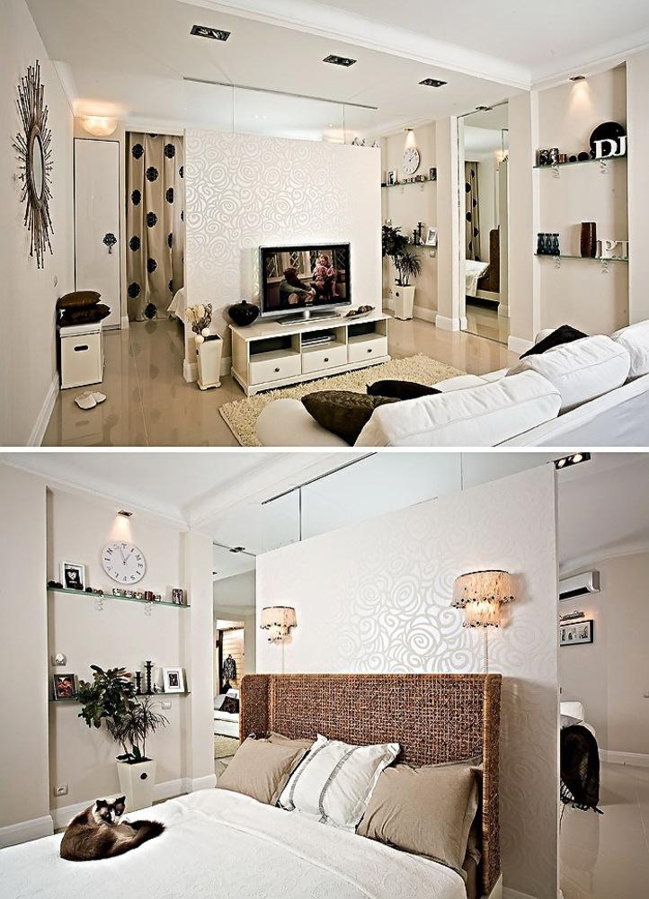Идеи дизайна гостиной и спальни в одной комнате плюс подборк.