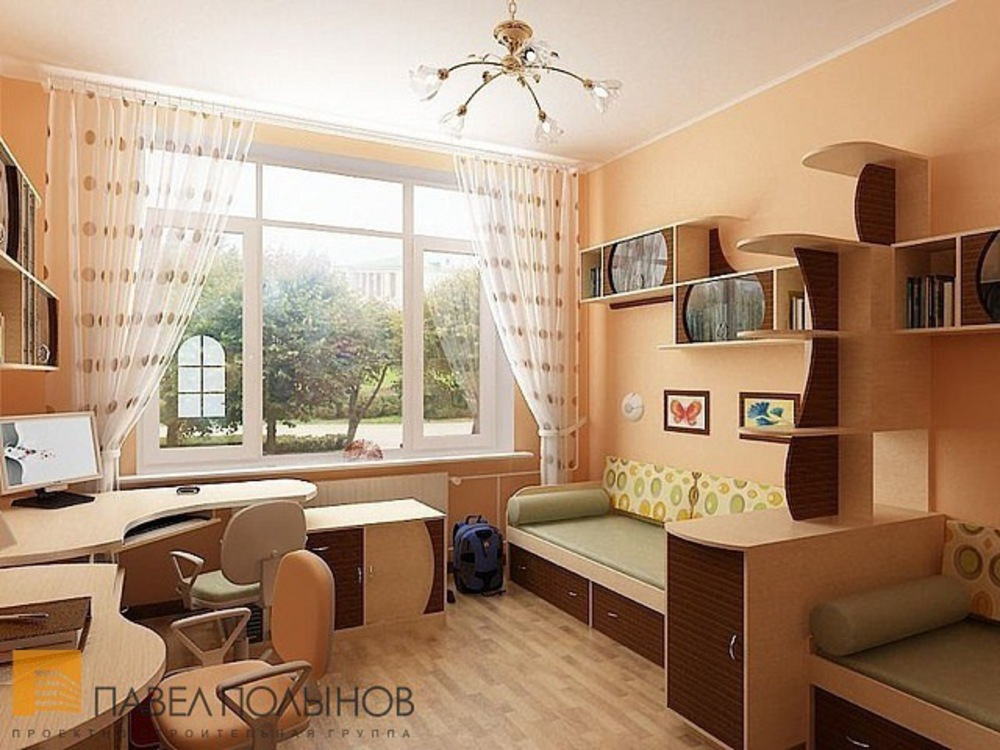 Детская комната для двоих детей 12 кв м интерьер фото