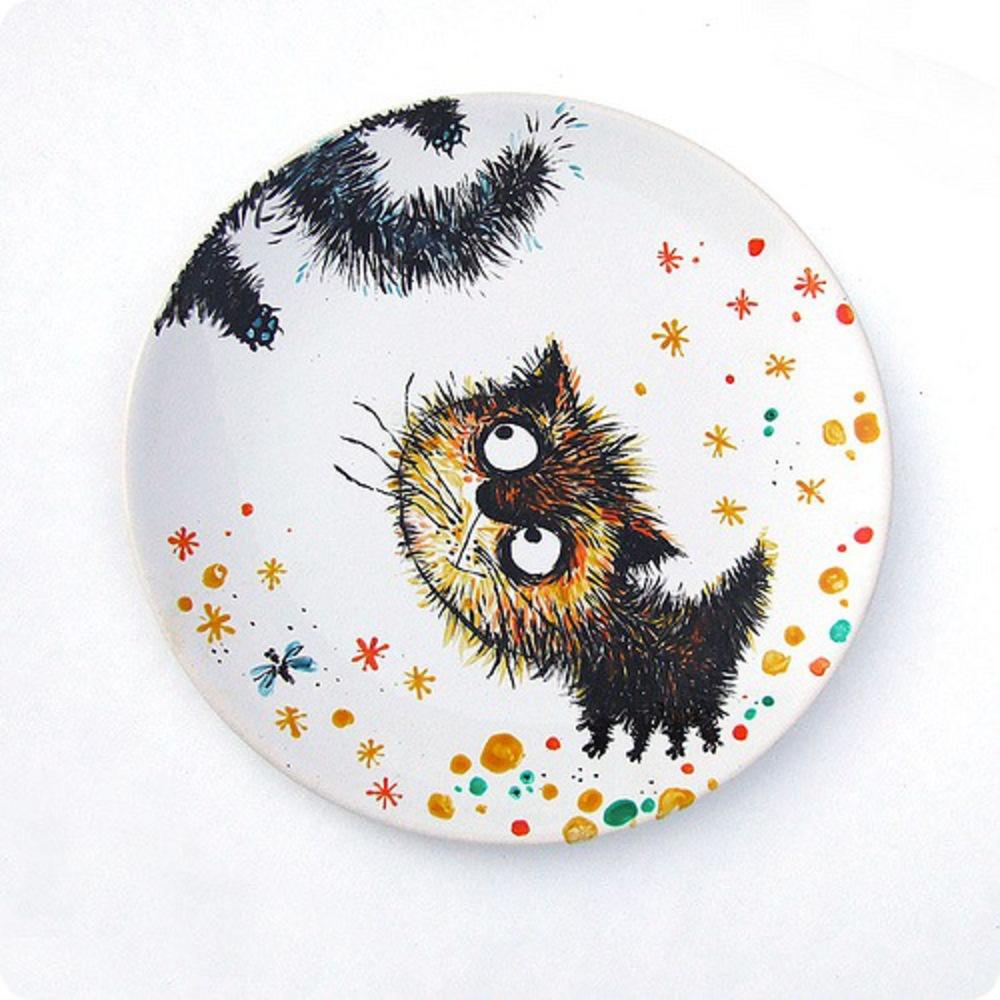 Открытки, прикольные рисунки на тарелках