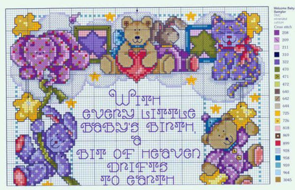 Схема для вышивки крестом метрики для девочки 41