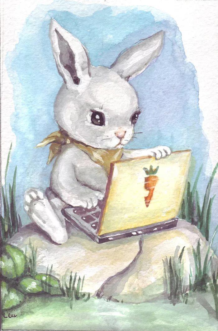 Картинка заяц за компьютером