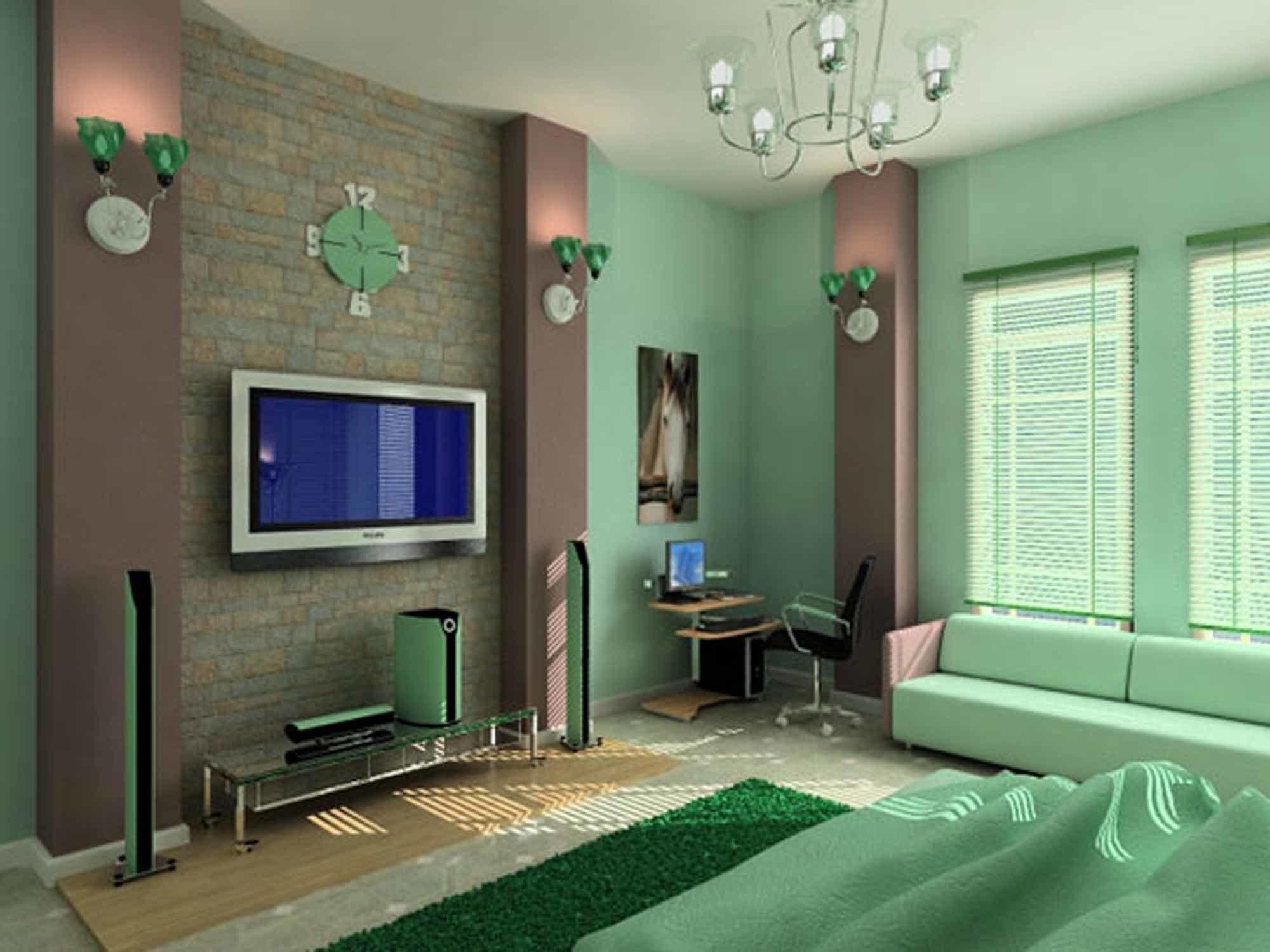 Дизайн комнаты 18 кв.м спальни-гостиной в зеленых тонах